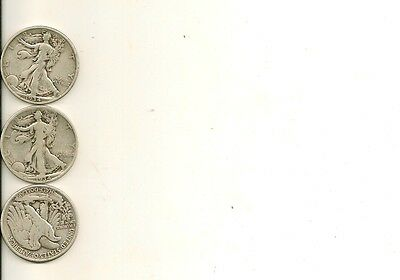 Silver walking liberty silver half dollar lot (you get all 3 coins) $1.50 face