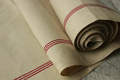 Vintage French hand towel fabric finely woven LINEN ~ red stripes 6yds X 23 wide