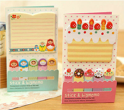 Cute 1+5 Sticker Post It Bookmark Marker Memo Flags Index Pad Tab Sticky Notes