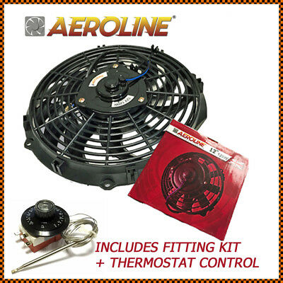 "12""  AeroLine Electric Radiator 12v Cooling Fan With Thermostat For CLASSIC CAR"