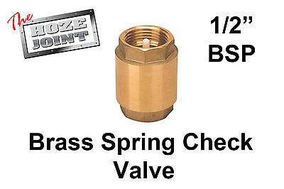 "Spring Check Valve - 1/2"" (15mm) - Brass - One Way Valve"