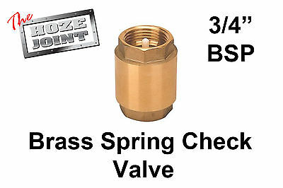 "Spring Check Valve - 3/4"" (20mm) - Brass - One Way Valve"