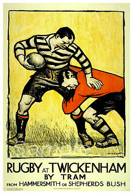 Vintage Rugby At Twickenham By Tram Travel A4 Poster Print