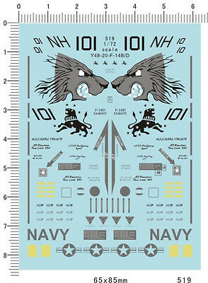 1/72 decals for F14 F-14 model kits (519)