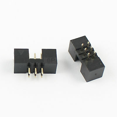 10Pcs 2mm 2x3 Pin 6 Pin Straight Male Shrouded PCB Box header IDC Connector