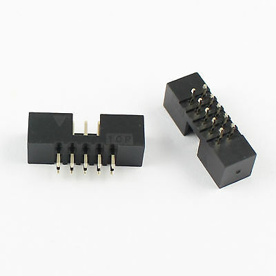 10Pcs 2mm 2x5 Pin 10 Pin Straight Male Shrouded PCB Box header IDC Connector