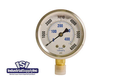 "0-6000 psi 2.5"" Liquid-Fill Hydraulic Air Water Gauge"