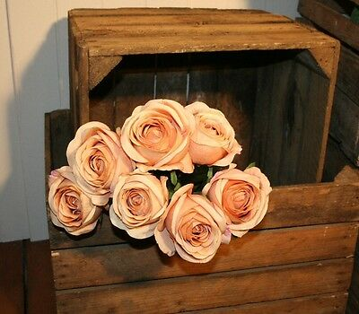 Bunch of 7 Realistic Antique Peach Roses, Artificial Vintage Faux Silk Flowers