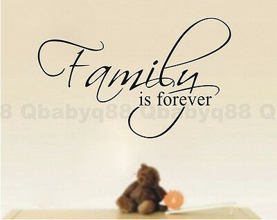 Family is forever Wall quote decals Vinyl stickers decor home art room mural