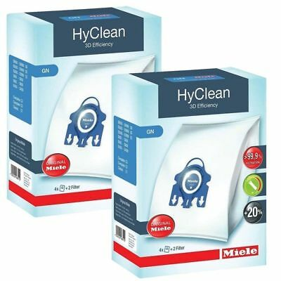 2 Boxs Genuine Miele GN HyClean 3D Efficiency 8 x Vacuum Bags +4 Filter s5211