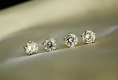 18K White GOLD Filled 8MM Classic SWAROVSKI Crystal Lab Diamond Stud Earrings