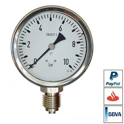 MANOMETRO DE PRESION 10 bar INOX AISI-316L ROSCA  INOXIDABLE MANOMETER