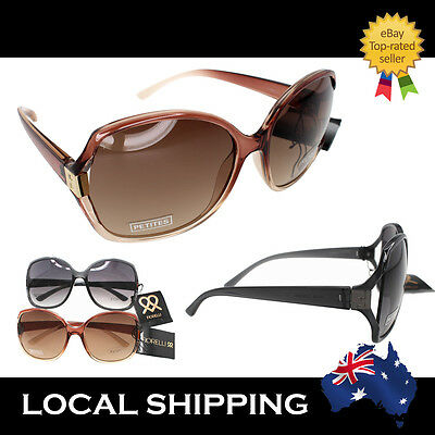 Fiorelli Designer Sunglasses Oversized Vintage Women Black Champagne Anja Brown