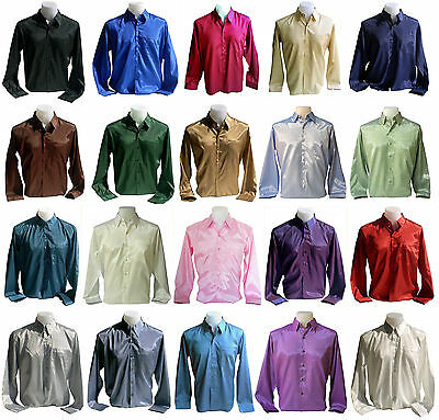 Mens Thai Silk Casual Dress Shirt - M, L, XL, XXL Long Sleeve Multi-Color