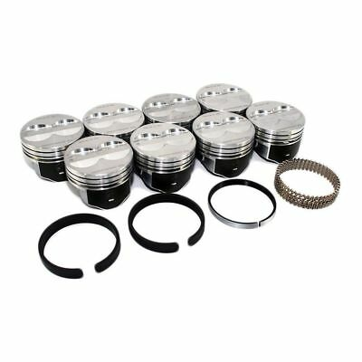 SPEED PRO Chevy 350 Hypereutectic Coated Flat Top Pistons+Cast Rings 9.3:1 STD