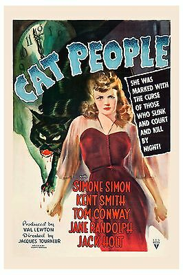 "2003 Vintage Horror /""THE CURSE OF THE CAT PEOPLE /"" MINI POSTER   Art  Lithograph"