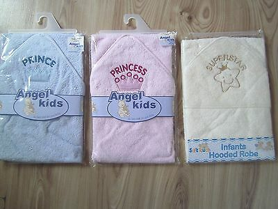 Plain White/Beige/Pink/Blue Baby Bath Towelling Hooded/Hood Towel/Robe Boy Girl