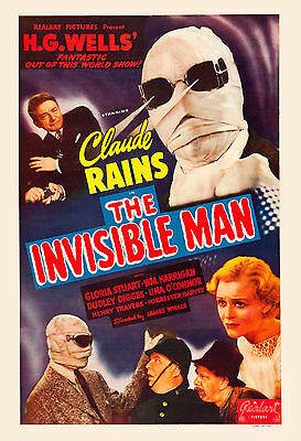 Universal Horror: * The Invisible Man  *  Claude Rains Movie Poster release 1951