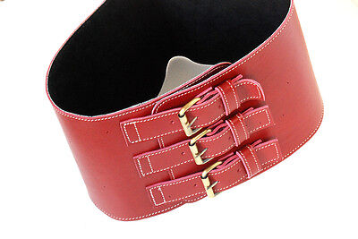 Ceinture Corset Cuir Retro Old Red  Real Leather Woman Girdle Belt  Taille  M