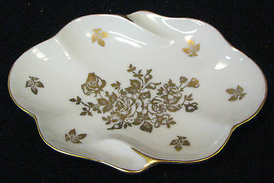 5 in Royal Limoges France candy, dresser, or ash tray with gold flowers, leaves