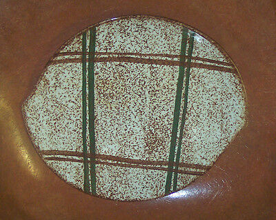 Blue Ridge Southern Potteries Rustic Plaid Handled Platter, Chop Plate, Cake