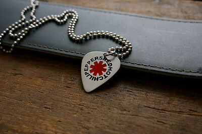 Hand Made Etched Nickel Silver Guitar Pick Necklace - Red Hot Chili Peppers