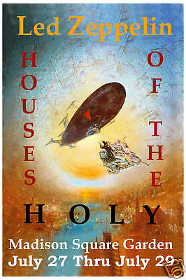1970's Heavy Metal: Led Zeppelin at Houses Of Holy NY Concert Poster 1973