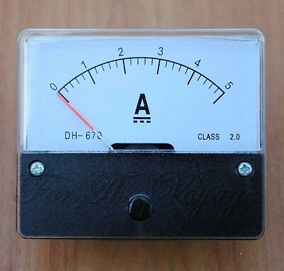 0- 5A DC Ammeter Amp Current Panel Meter Analogue with Internal Shunt NEW