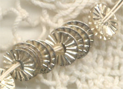 RUFFLE INDENT SILVER METAL ANTIQUE SEQUINS FRENCH Couture 4mm RARE lot
