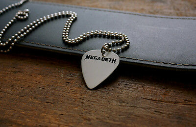 Hand Made Etched Nickel Silver Guitar Pick Necklace - Megadeth