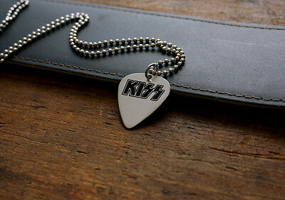 Hand Made Etched Nickel Silver Guitar Pick Necklace - Kiss Band