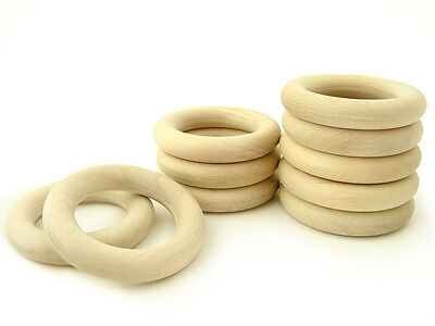 Natural Eco Toy Wooden Rings - Set of 10 Organic Teething Rings - 2 1/3 inches