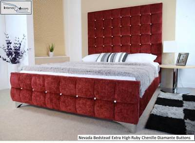 Nevada Bed Frame Extra High 164cm Upholstered Chenille Many Colours - Made in UK