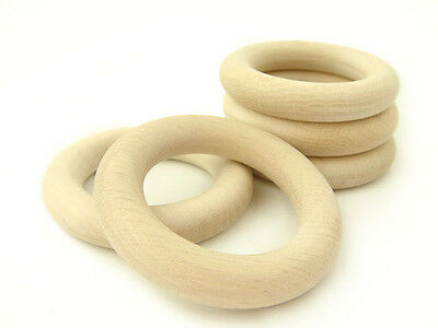 Natural Untreated Wooden Rings - Set of 5 Organic Teething Rings - 2 1/3 inches