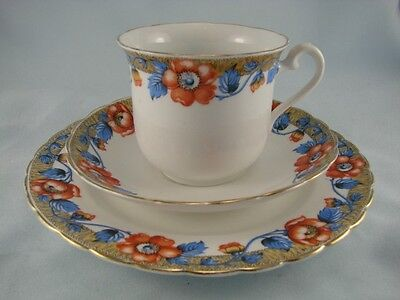 Vintage 1930'S Tuscan China Trio, Gilded Bone China Cup, Saucer & Teaplate