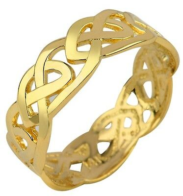 Solid Gold Celtic Trinity Knot Band Eternity Ring