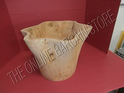 Pottery Barn Large Rustic Antique Carved Wood Vessel cabin chair Flower Pot Urn