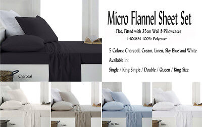Micro Flannel / Flannelette Fitted Sheet Set Colors Choice For All Bed Sizes