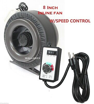 """8"""" Inline 760CFM Hydroponics Duct Tube Exhaust Fan Blower + Speed Controller"""