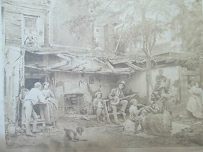 "Antique 19th Cent Photographic Print Eastman Johnson's ""Old Kentucky Home"" Rare!"