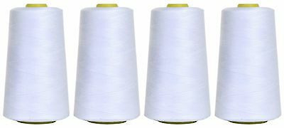 WHITE SEWING THREAD 120s SPUN POLYESTER, OVERLOCKING, 5000 YARDS, X4 CONES