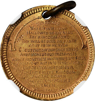 The Lord's Prayer Medal Brass - 16 mm. By William Key | Baker-650A NGC MS 62