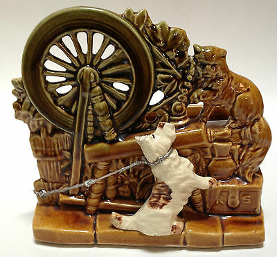 Vintage McCoy Planter Scottie Dog Westie Sewing Spinning Wheel Cat R S AS-IS