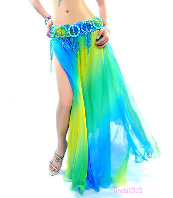 New Belly Dance Costume Gradient Skirt 2 layers with slits skirt Dress 6 colors