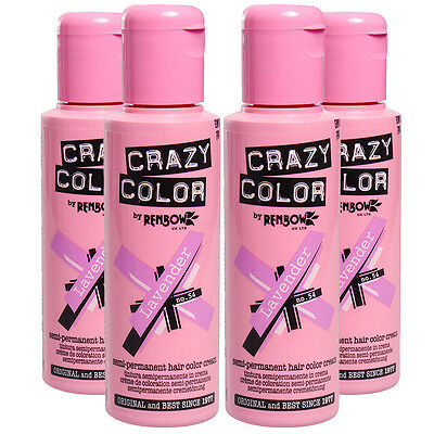 4 x Crazy Color Semi Permanent Colour Hair Dye by Renbow