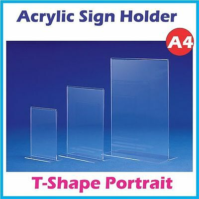 A4 Acrylic Double Sided Counter Sign Holder - Portrait - T shape