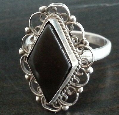 Antique solid silver ring with black Onyx stone great Victorian gift