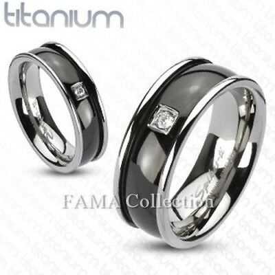Top Quality FAMA Solid TITANIUM Black IP Round Center with CZ Band Ring Size 12