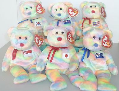 RETIRED !! TY BEANIE BABY 2003 ASIA PACIFIC EXCLUSIVE SET OF 6 BEARS   MWMT