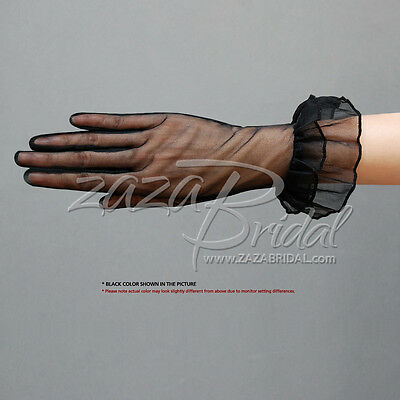 Gorgeous Sheer Gloves with Double Ruffle Cuff Slip-on Wrist Length 2BL